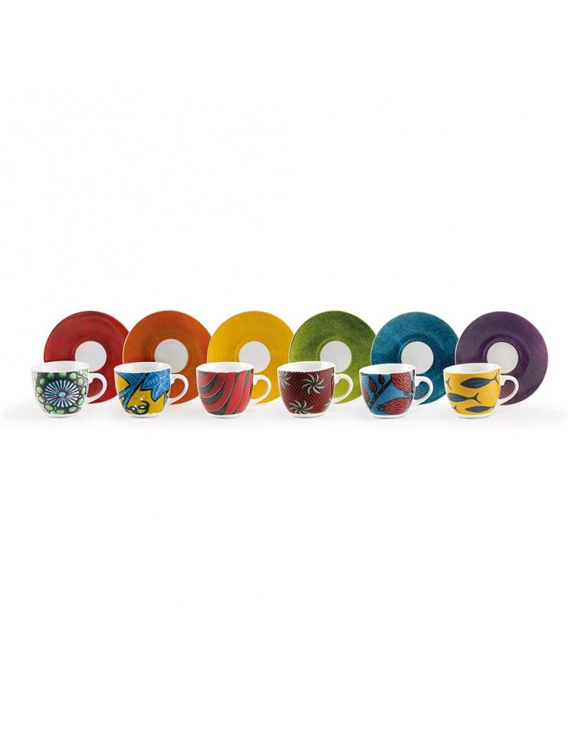 Confezione sei tazzine colorate modello Afrika